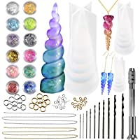 Funshowcase Unicorn Horn Resin Casting Moulds Jewellery Making Kits 3 Silicone Trays 65 Findings, Soap Candle Polyclay Concrete and More