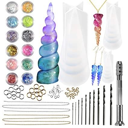Amazon com: Funshowcase Unicorn Horn Resin Molds Jewelry
