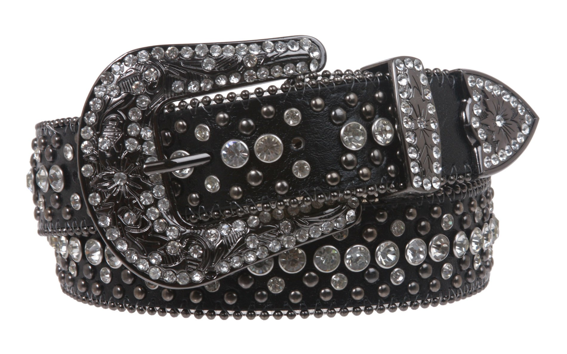 Snap On Rhinestone and Gun Metal Color Circle Studded Leather Belt Color: Black Size: 34