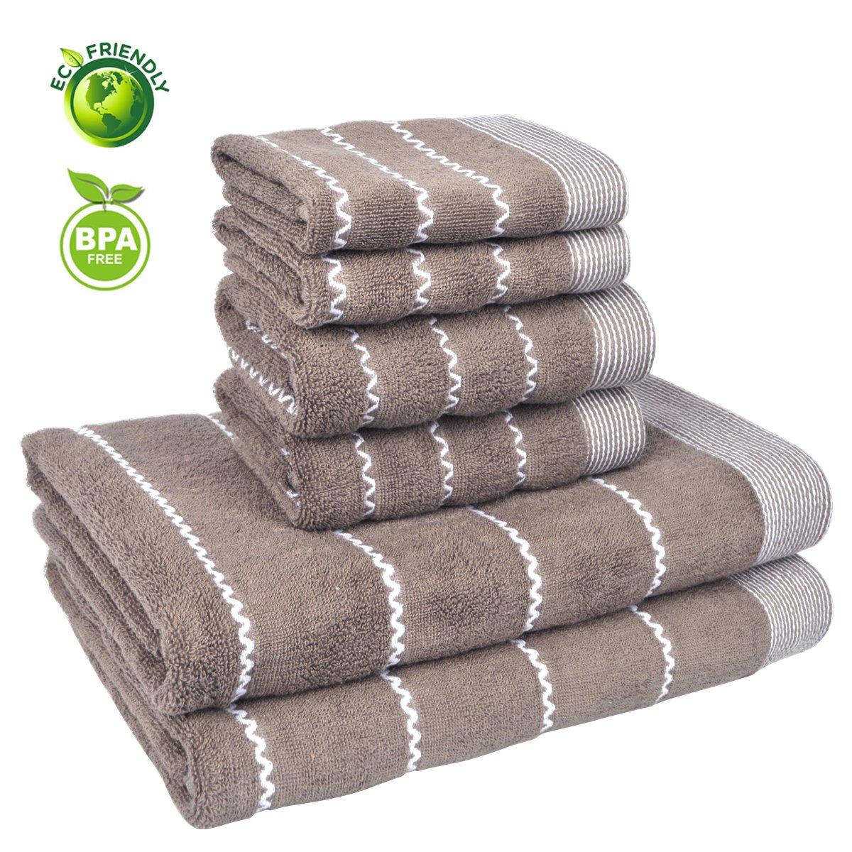 Vanca Bath Towels Sets Cotton Prime Soft Durable Absorbent Large Shower Beach Terry Luxury Classic Design Circlet Wave Stripe Kids Towel (Light Blue)