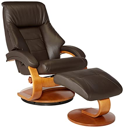 Delightful Mac Motion Oslo Collection Recliner With Matching Ottoman In Espresso Top  Grain Leather With Walnut Frame
