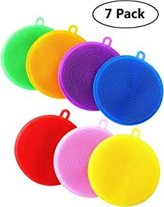 Silicone Dish Sponges - 7 Pack Cleaning Sponges for Dish Washing, Silicone Dish Scrubber for Cleaning, Dishwasher Safe and Dry Fast