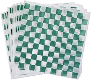 Dry Wax Paper Deli Wrap and Basket Liner (25, Green Checkered 12x12)