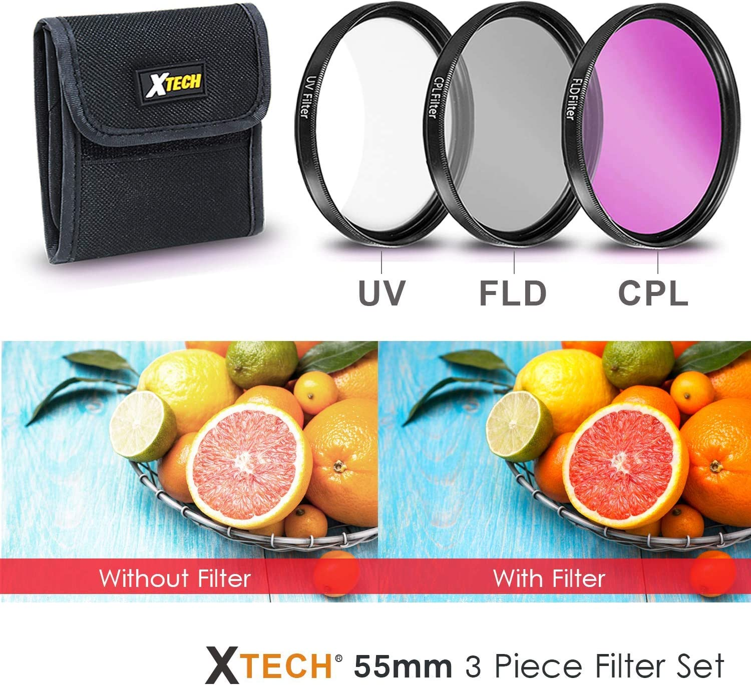 +1 +2 +4 +10 ND Filters Set ND2 ND4 ND8 55MM Professional Lens Filter Accessory Kit for Nikon D3400 D5600 D7500 Camera with Nikon AF-P DX 18-55mm Lens 4 Close-up Macro Filters UV FLD CPL