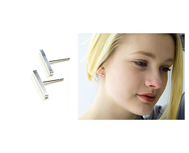 fae1d1d10 Image Unavailable. Image not available for. Color: Minimalist bar stud  earrings for women, sterling silver ...