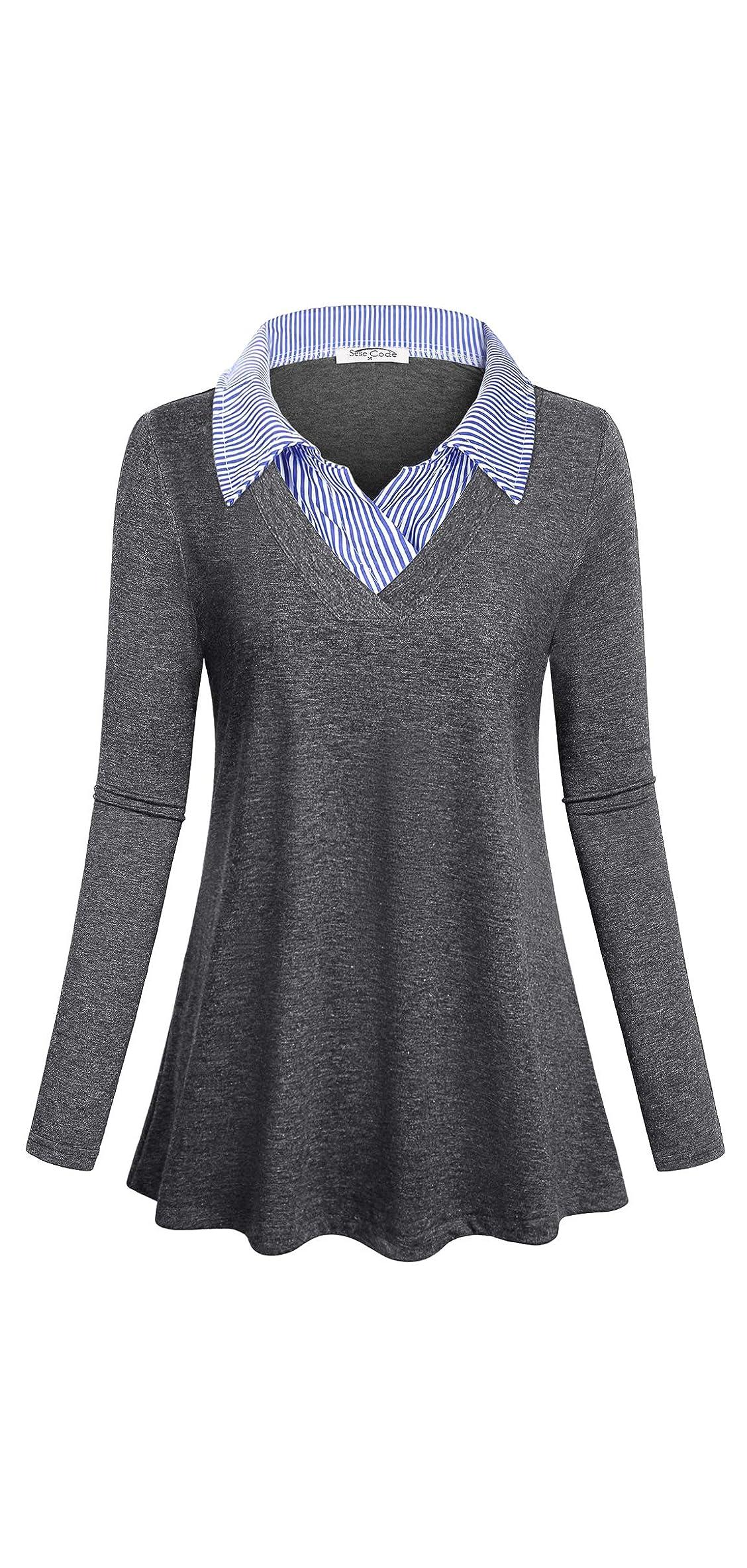 Women's Long Sleeve Contrast Collar Shirt A-line Tunic