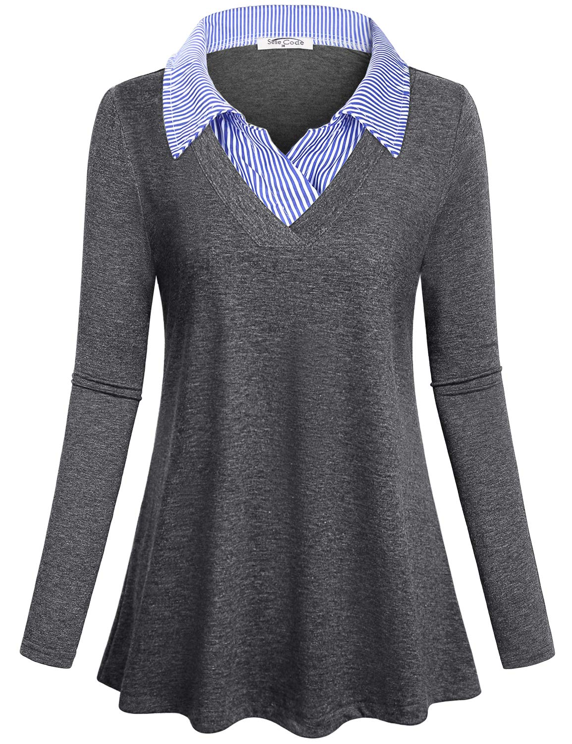 SeSe Code Long Sleeve Blouse Women Baggy V Neck Shirts Ruched Draped Petite Tops Turn Down Collar Contrast Color Delicate Beautiful Unique Office Work Clothes Grey M