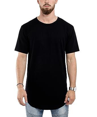 531506f1b900 Blackskies Round Basic Men's Longline T-Shirt | Oversized Curved Fashion  Short Sleeve L/