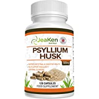 PSYLLIUM Husk Capsules by JeaKen - 500 mg x120 Capsules of Digestive Enzyme Supplements - Psyllium Husk Powder - Maintains Gastrointestinal Health - Made in UK to GMP Code of Practice
