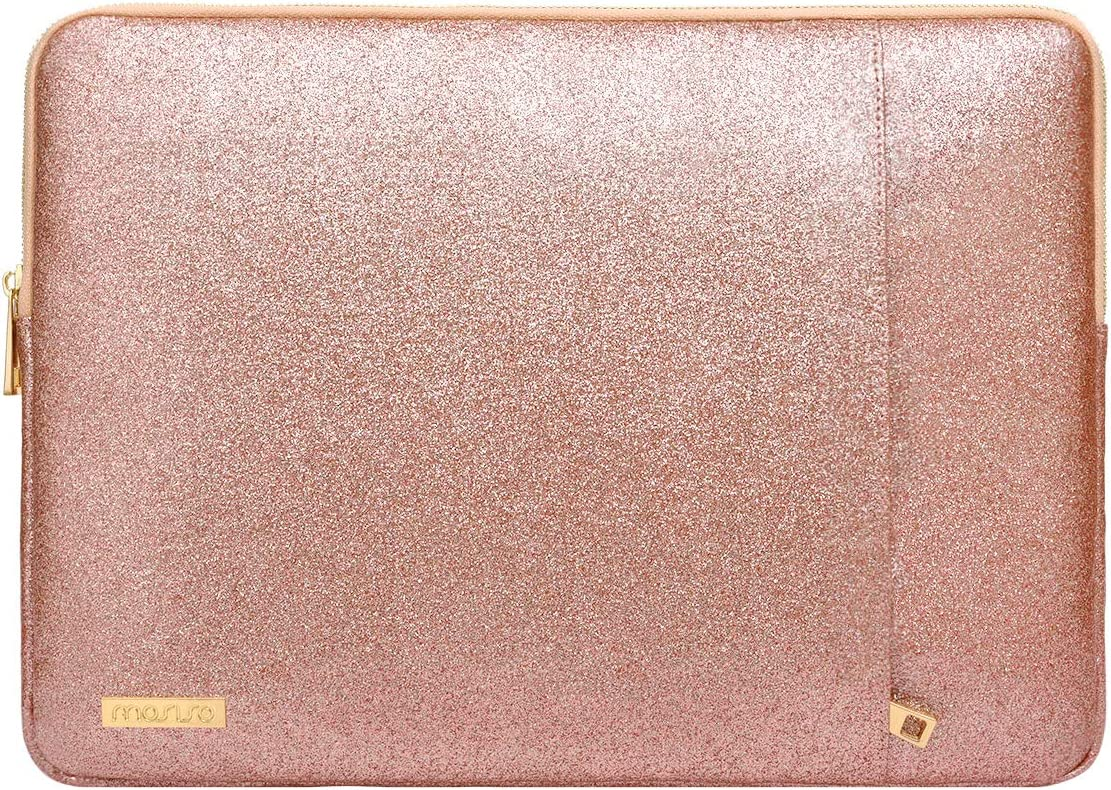 MOSISO Laptop Sleeve Compatible with 13-13.3 Inch MacBook Air/MacBook Pro Retina/2019 Suface Laptop 3/Surface Book 2, PU Leather Vertical Style Padded Bag Waterproof Case, Rose Gold