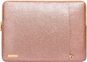 MOSISO Laptop Sleeve Compatible with 2020-2018 MacBook Air 13 A2179/A1932/MacBook Pro 13 2020-2016 A2251/A2289/A2159/A1989/A1706/A1708, PU Leather Vertical Style Padded Bag Waterproof Case, Rose Gold