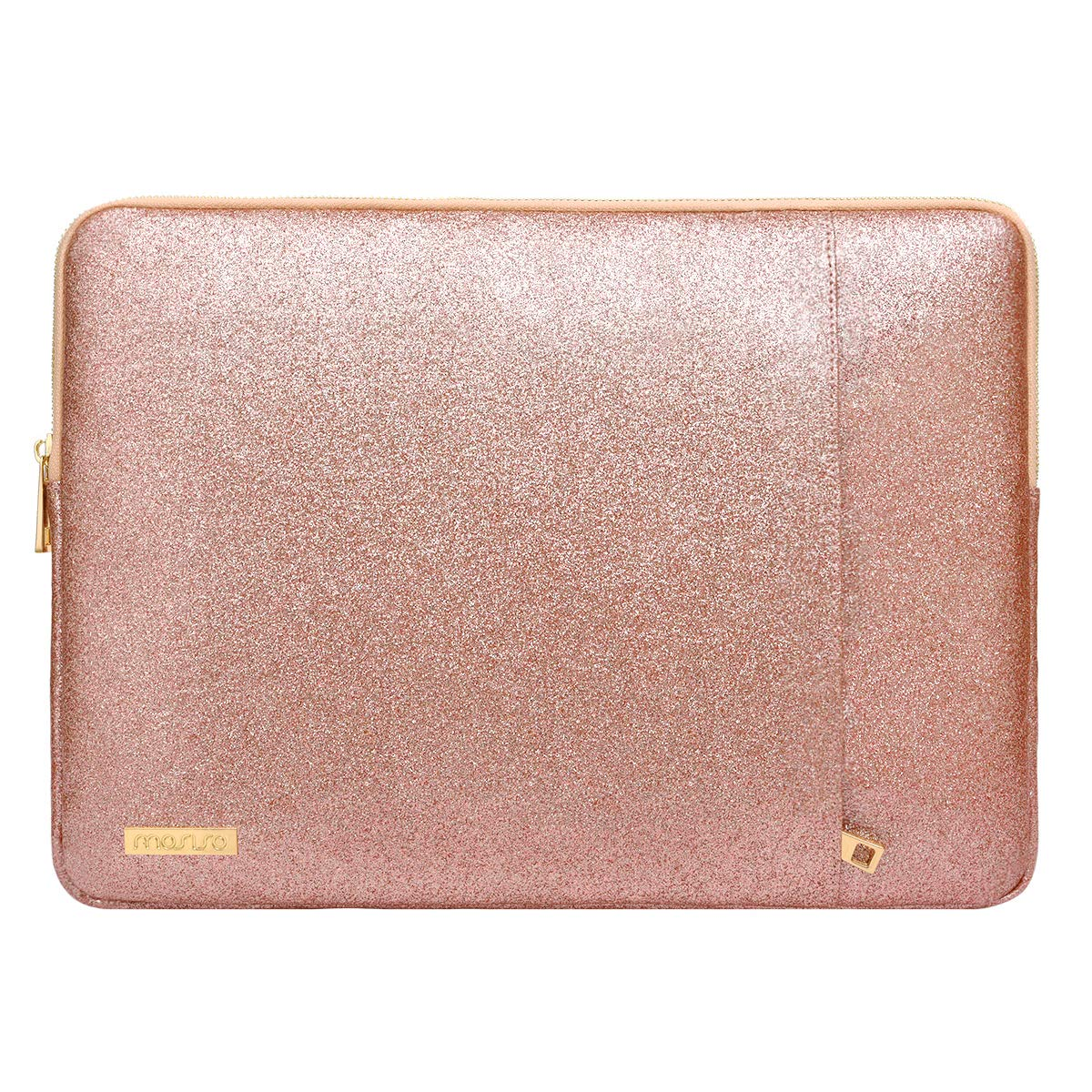 MOSISO Laptop Sleeve Compatible 13-13.3 Inch MacBook Pro Retina/MacBook Air/Surface Laptop 2 2018 2017/Surface Book, PU Leather Vertical Style Super Padded Bag Waterproof Case, Shining Rose Gold