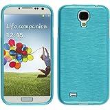 PhoneNatic Case für Samsung Galaxy S4 Hülle Silikon blau brushed Cover Galaxy S4 Tasche Case