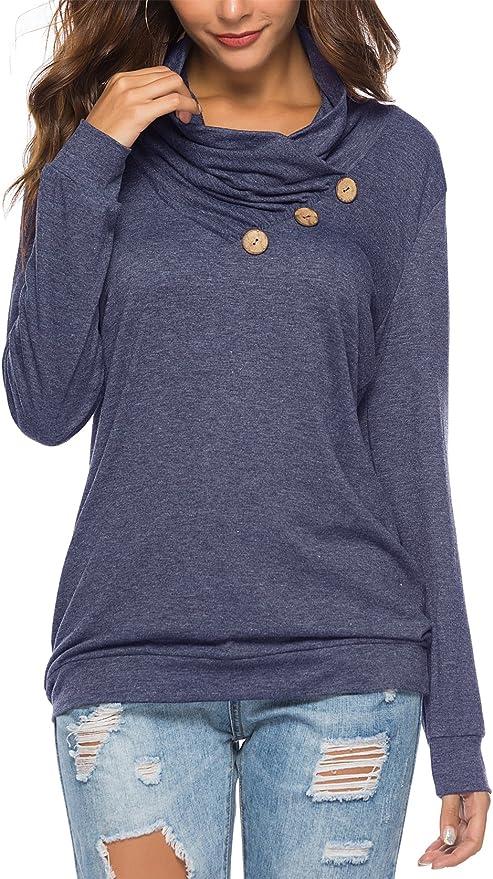 onlypuff Womens Blouse Loose Fit Flare Elastic Shirts Navy Blue Medium