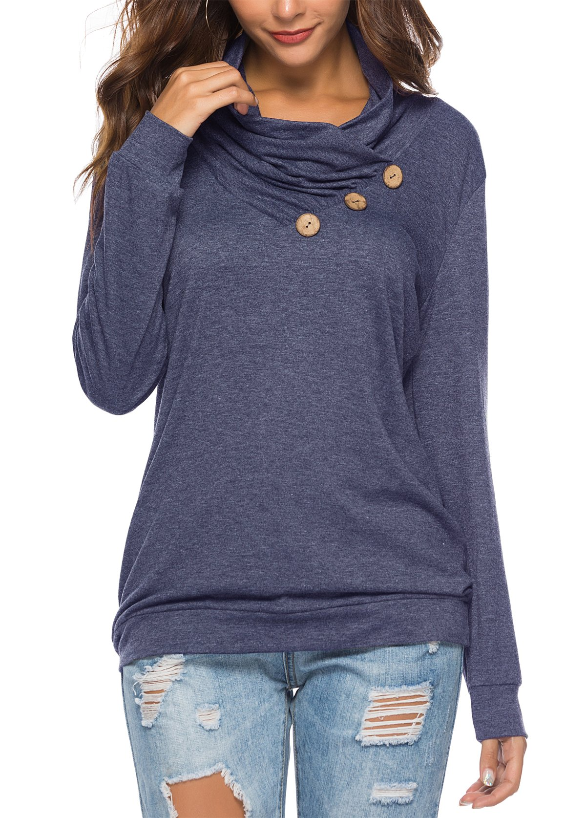 KISSMODA Blue T-Shirt for Women Fashion Cowl Neck