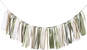 Olive Green Birthday Background Banner - Gender-neutral baby baptism, woodland first birthday decoration, ivory, gold ribbon garland decoration and birthday decoration, photo booth photo props. (Sage)