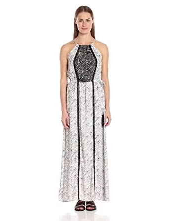 aaa88eccbfe THML Women s Halter Maxi Dress with Embroidery