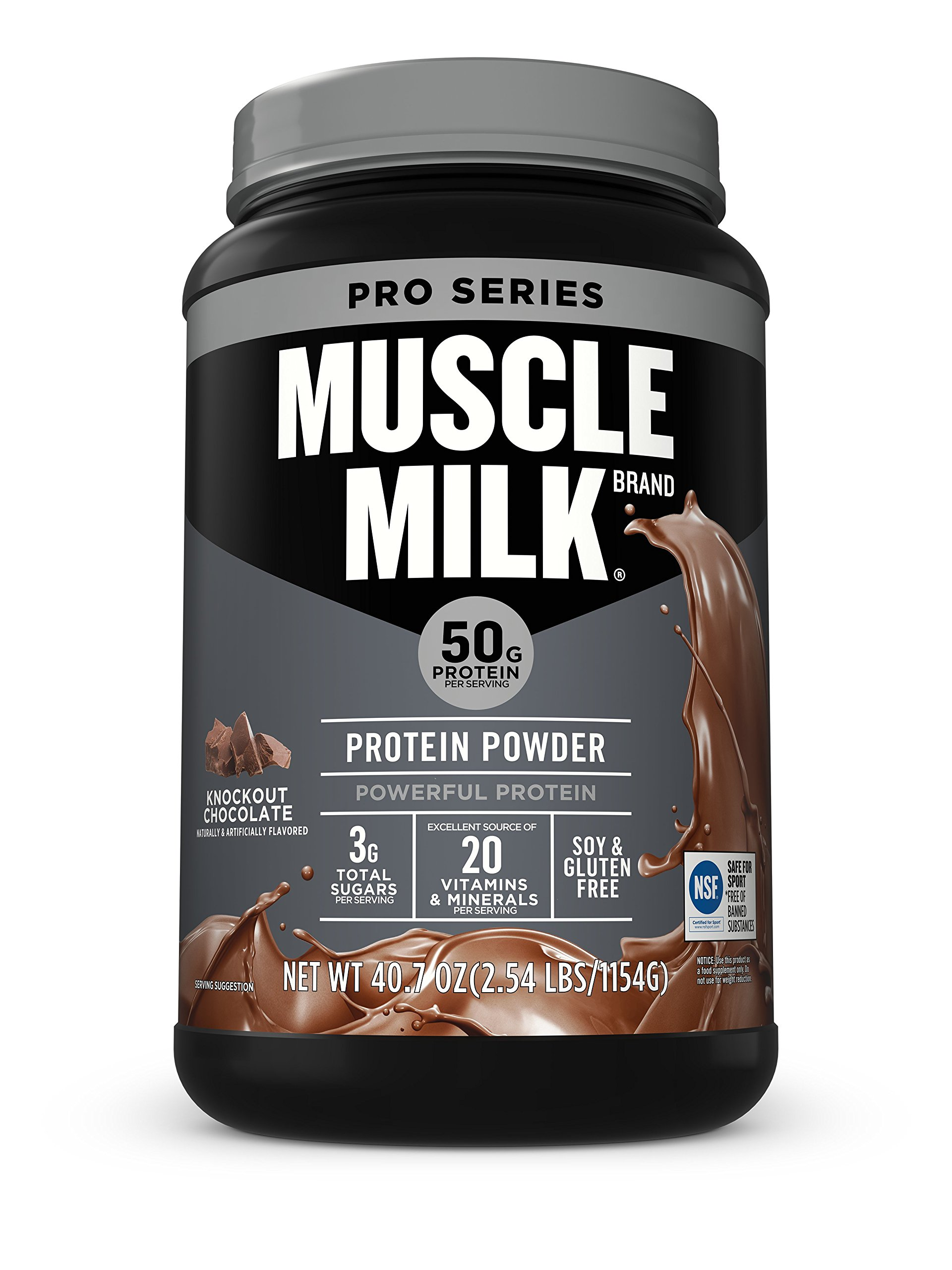 Muscle Milk Pro Series Protein Powder, Knockout Chocolate, 50g Protein, 2.54 Pound by Muscle Milk