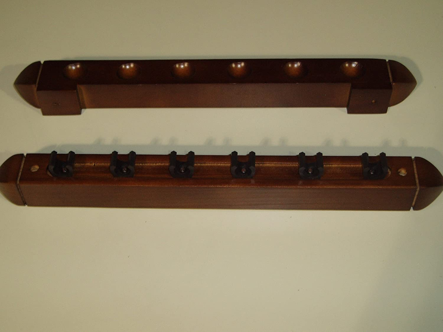 2 PIECE MAHOGANY POOL/SNOOKER CUE RACK HOLDS 6 CUES ** by SGL