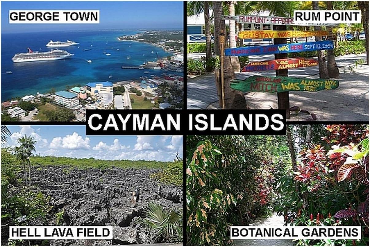 SOUVENIR FRIDGE MAGNET - THE CAYMAN ISLANDS 9cm x 6cm (3½ x 2½ inches) Jumbo