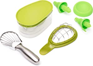 Avo Hero Ultimate Bundle-Professional-Grade Food Prep Tools Stainless Steel Slicer, ABS Plastic Saver, Cuber, 2-Piece Citrus Sprayer and Tray-Quick and Easy to Use-Dishwasher-Safe Set, Avocado Green