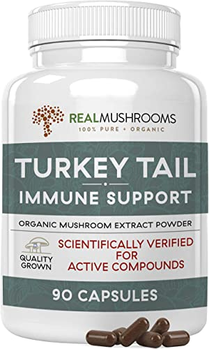 Turkey Tail Musrhoom Extract Immune Support 90 Caps, 500mg Organic Turkey Tail Mushroom Supplement Capsules, Vegan Non-GMO Antioxidant Immune System Booster Pills, 45 Day Supply, No Fillers