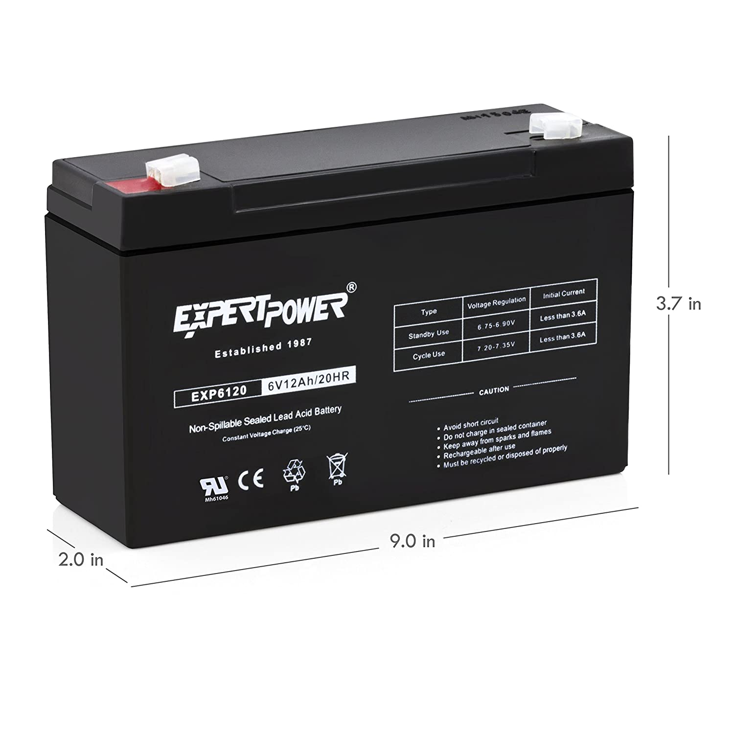 Amazon.com: ExpertPower EXP6120 6V 12Ah - 6 Volt 12 Amp SLA Sealed Lead  Acid Battery with F1 Terminals: Health & Personal Care
