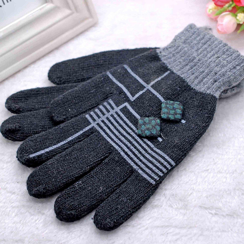 DIDIDD Guanti invernali guanti caldi delle dita sport all'aria aperta guanti a maglia dei bottoni a maglia