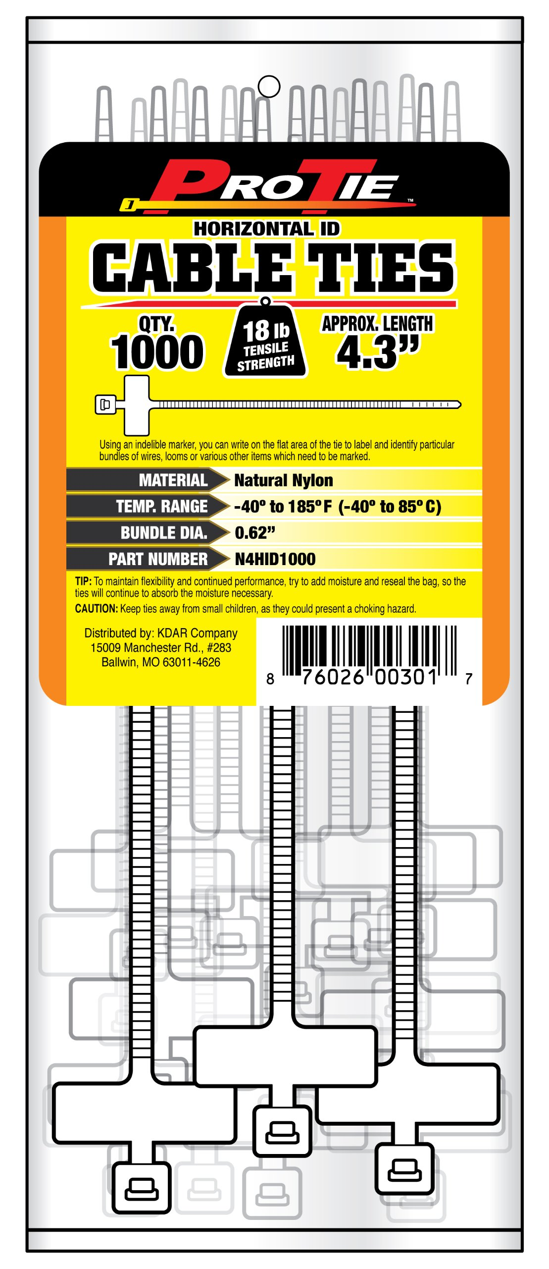Pro Tie N4HID1000 4.3-Inch Horizontal ID Cable Tie, Natural Nylon, 1000-Pack