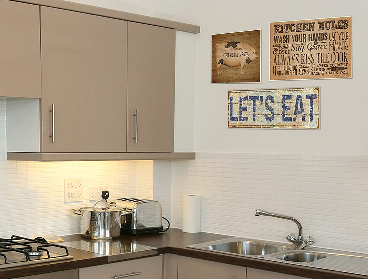 Proudly Made in USA Stupell Industries kwp-1004 The Stupell Home Decor Collection Lets Eat Distressed Kitchen Wall Plaque 7 x 0.5 x 17