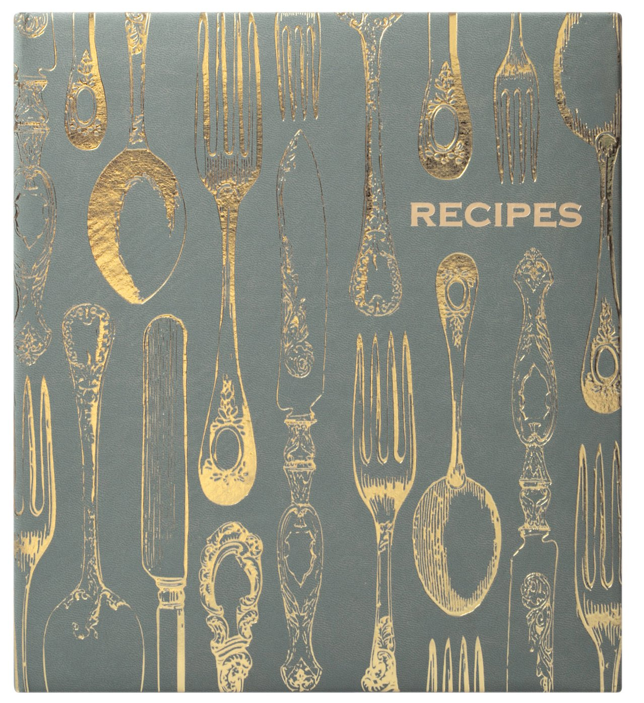 Eccolo World Traveler Recipe Keeper, Vintage Utensils, 9.5 x 8.5, Grey/Gold