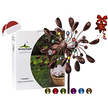 SteadyDoggie Sports & Outdoors Solar Wind Spinner New 75in Jewel Cup Multi-Color Seasonal LED Lighting Solar Powered Glass Ball with Kinetic Wind Spinner Dual Direction for Patio Lawn & Garden