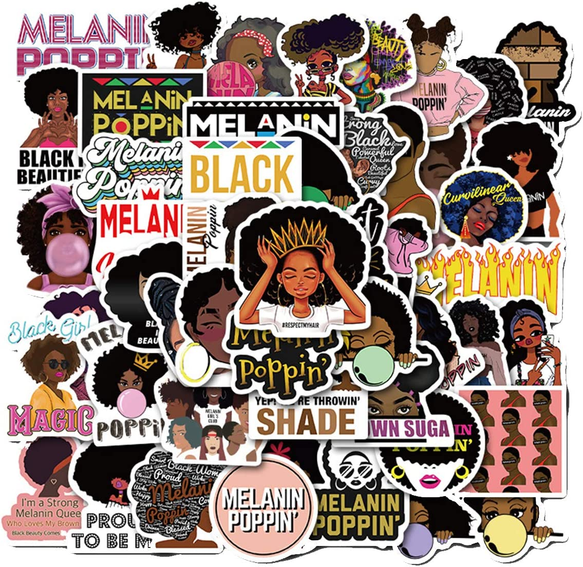Singer Melanin Poppin Stickers 50PCS for Laptop and Water Bottles,Waterproof Durable Trendy Vinyl Laptop Decal Stickers Pack for Teens, Water Bottles, Computer, Travel Case (Melanin Poppin)