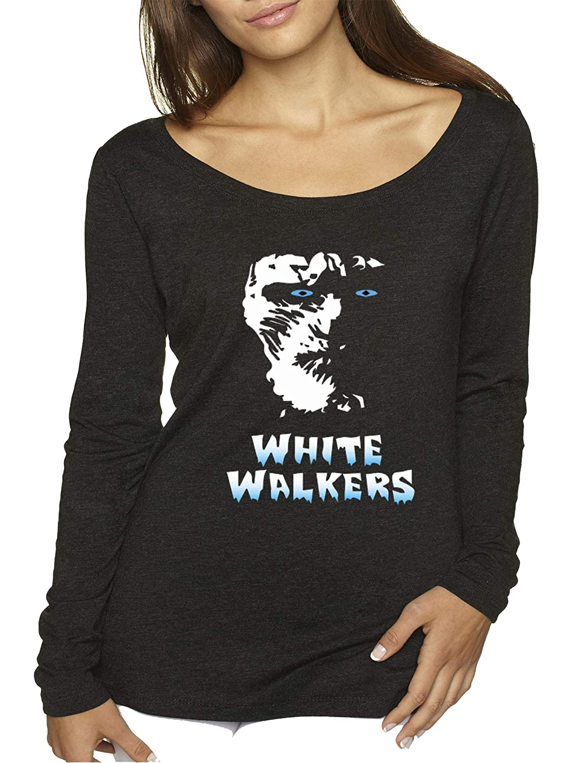 Black Trendy USA 493  Women's Long Sleeve TShirt White Walkers Game of Thrones