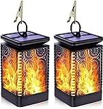 Solar Lights Outdoor Decorative, Flickering Flame Solar Lanterns Outdoor Hanging, Waterproof Retro LED Night Lights Dusk…