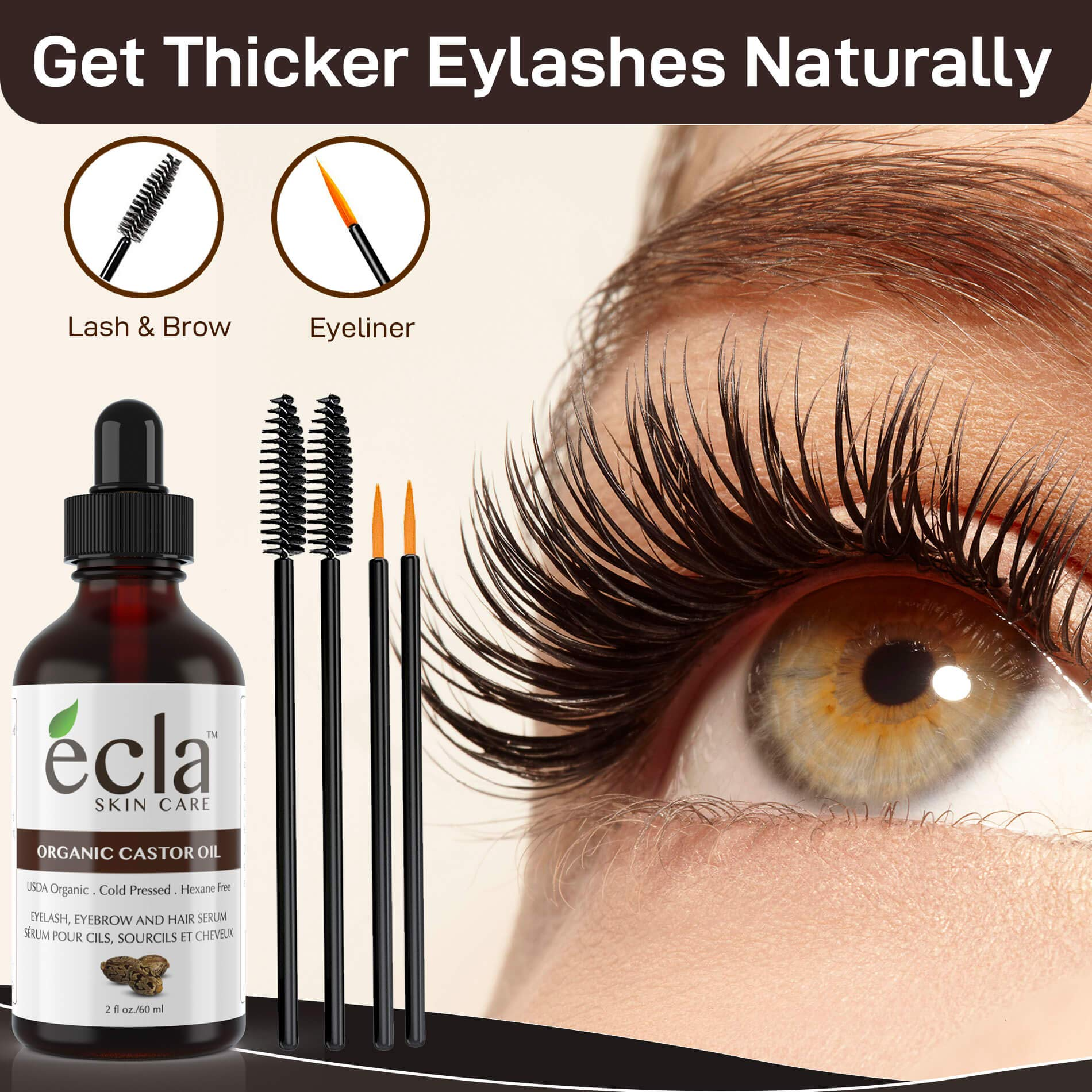 Castor Oil Organic Cold Pressed - Eyelash & Eyebrow Growth Oil 100% Pure USDA Certified (Made in Canada) 60ml - 2 Oz for Hair, Beard, Eyelashes and Eyebrows in Glass Bottle. Includes a Set of Brush & Eyeliner Applicators kit and E-Book
