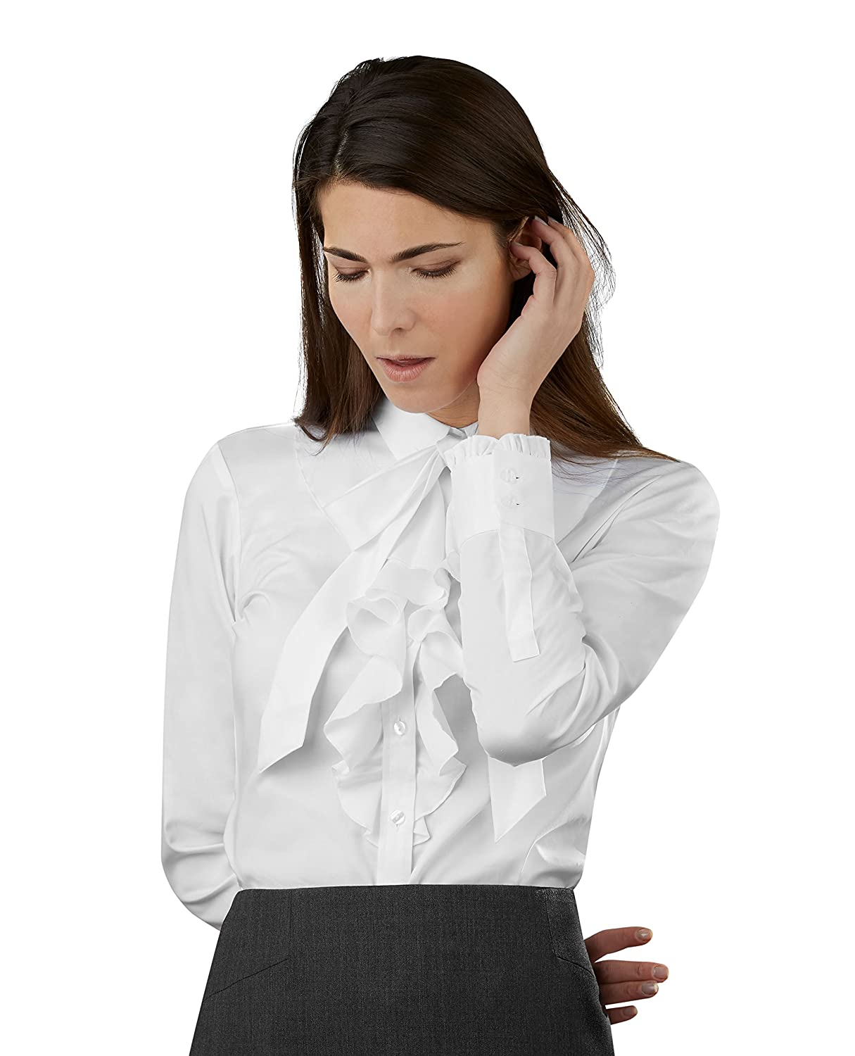 Tmlewin Womens Fitted White Fine Twill Frill Bow Shirt Amazon