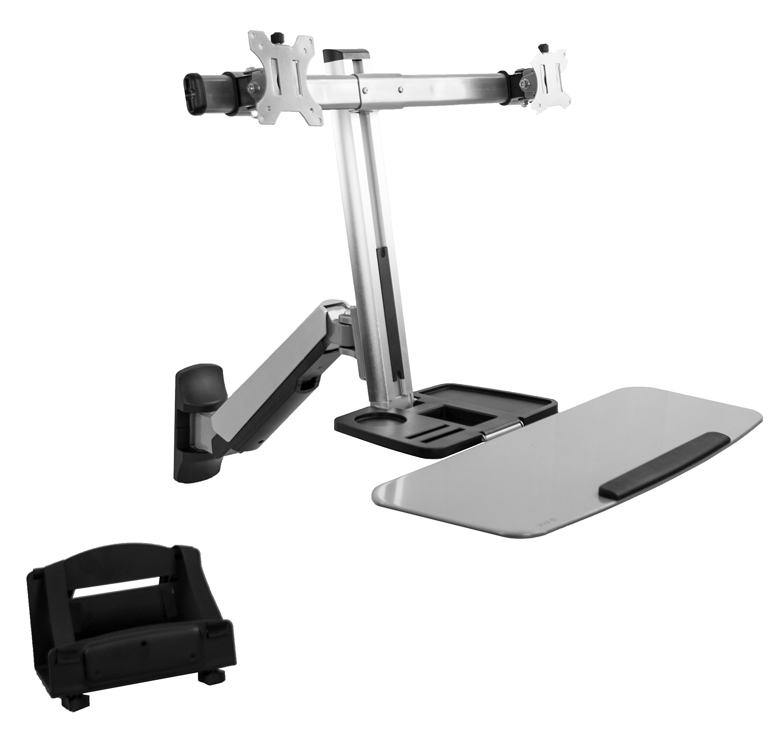 VIVO Dual Monitor & Keyboard Counterbalance Sit-Stand Wall Mount | Standing Transition Workstation with PC Holder (STAND-SIT2W)