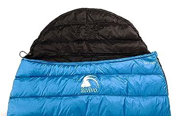 alvivo Ibex Light - Saco de dormir (Plumón 215 cm RV umlaufend con cabecero, blanco / rojo: Amazon.es: Deportes y aire libre