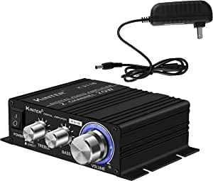 Kinter K3118 Texas Instruments TI Digital Hi-Fi Audio Mini Class D Home Auto DIY Arcade Stereo Amplifier with 12V 3A Power Supply Black