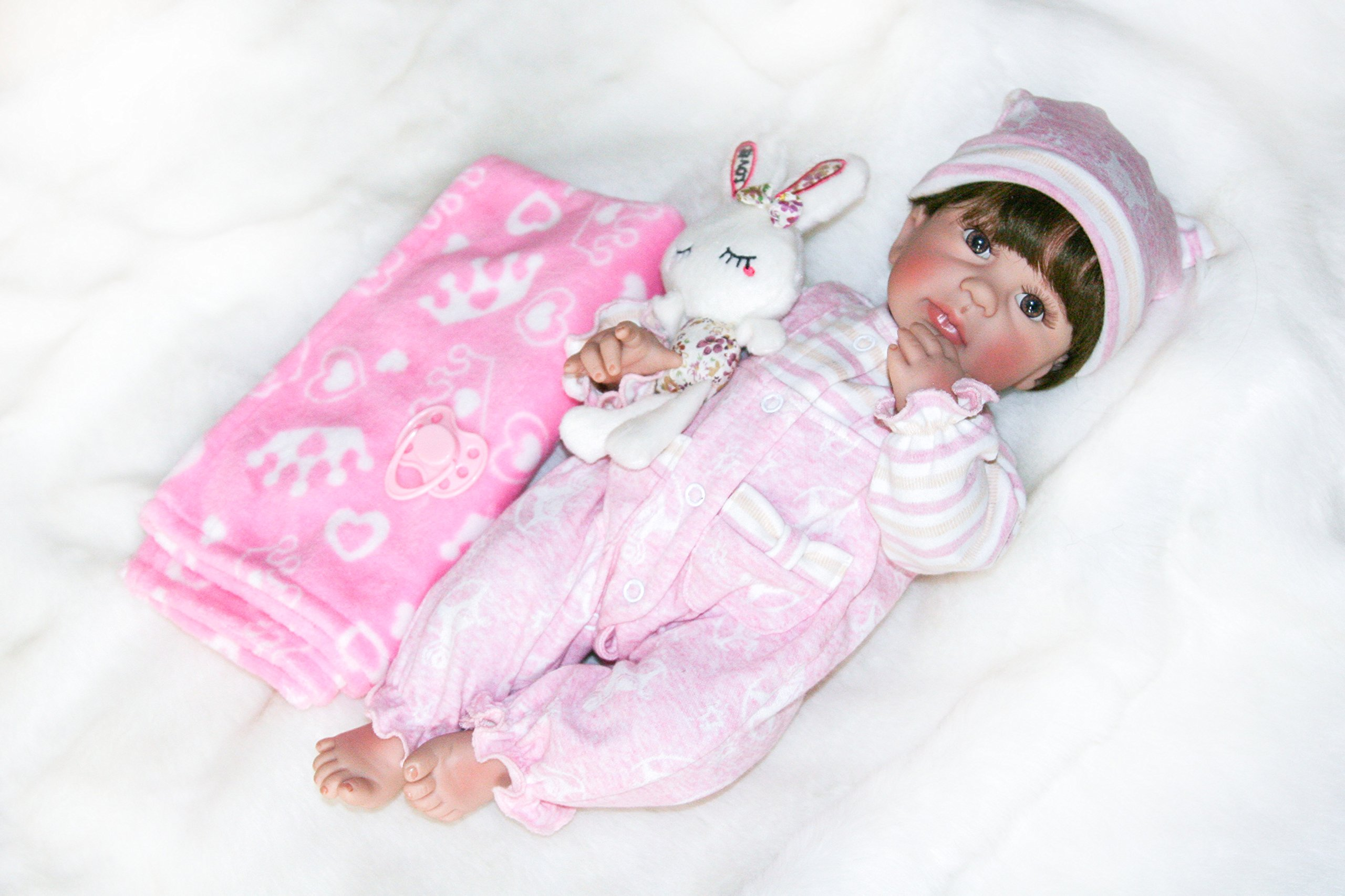 Pursue Baby Washable Hard Vinyl Full body Lifelike Poseable Baby Doll with Hair Marissa, 22 Inch Real Life Newborn Baby Dolls without Sex Children Toy