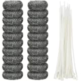Shappy 20 Pieces Lint Traps Washing Machine Lint Trap Snare Laundry Mesh Washer Hose Filter with 20 Pieces Cable Ties