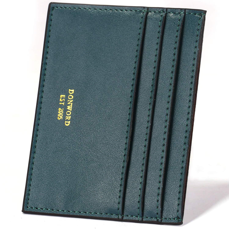 DONWORD RFID Slim Leather Card Case Wallet Minimalist Credit Card Holder Money Clip