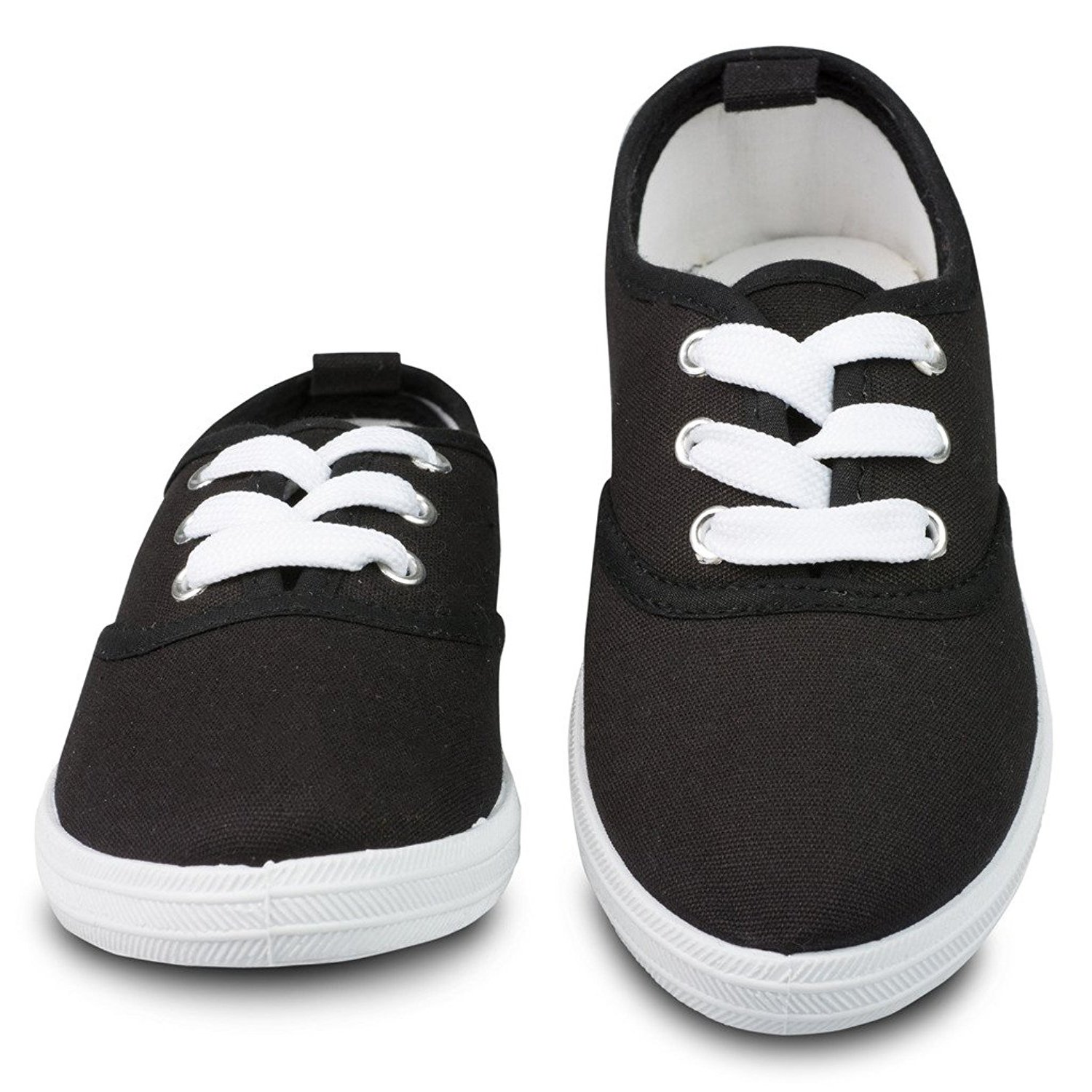 Kids Sneakers Tie up Slip on Canvas Laces Children Girls Boys Youth Causal Comfortable Cap Toe Shoes Kids Toddlers 2.0 8 Toddlers, Black and White Classic Canvas