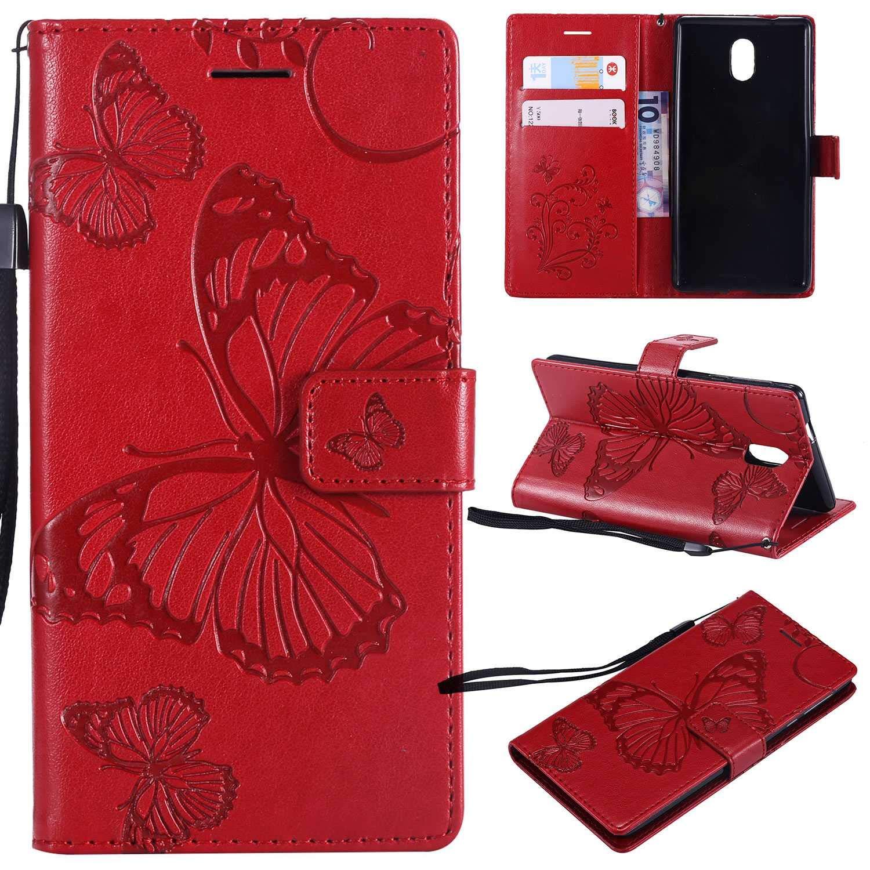 BoxTii Coque Nokia 3 avec [Gratuit Protection D'écran en Verre Trempé], Etui en Cuir de Première Qualité avec Les Fentes de Carte et Stand pour Nokia 3 (#4 Bleu) BOFR13-NK3-U04