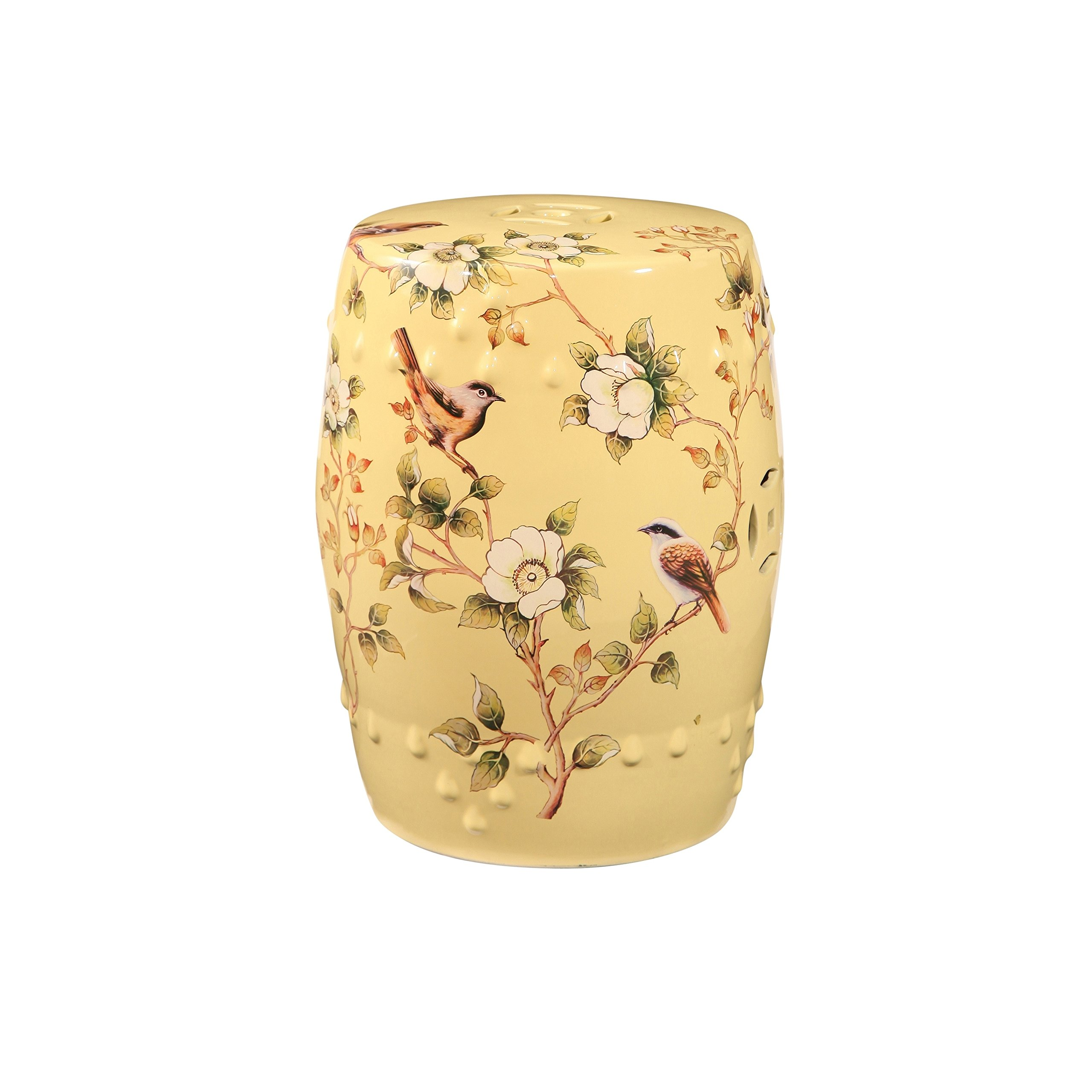 Beautiful,Multi-Functional,Elegant and Asian inspired Abbyson Sumida Hand Painted Floral Ceramic Garden Stool, Pale Yellow,Brighten Up Your Living Room and Adds Harmony to Your Patio