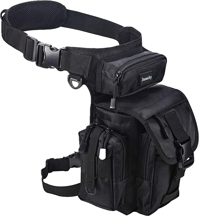 Image of a leg bag attached to a waistband with front flap, buckle closure, and side pockets