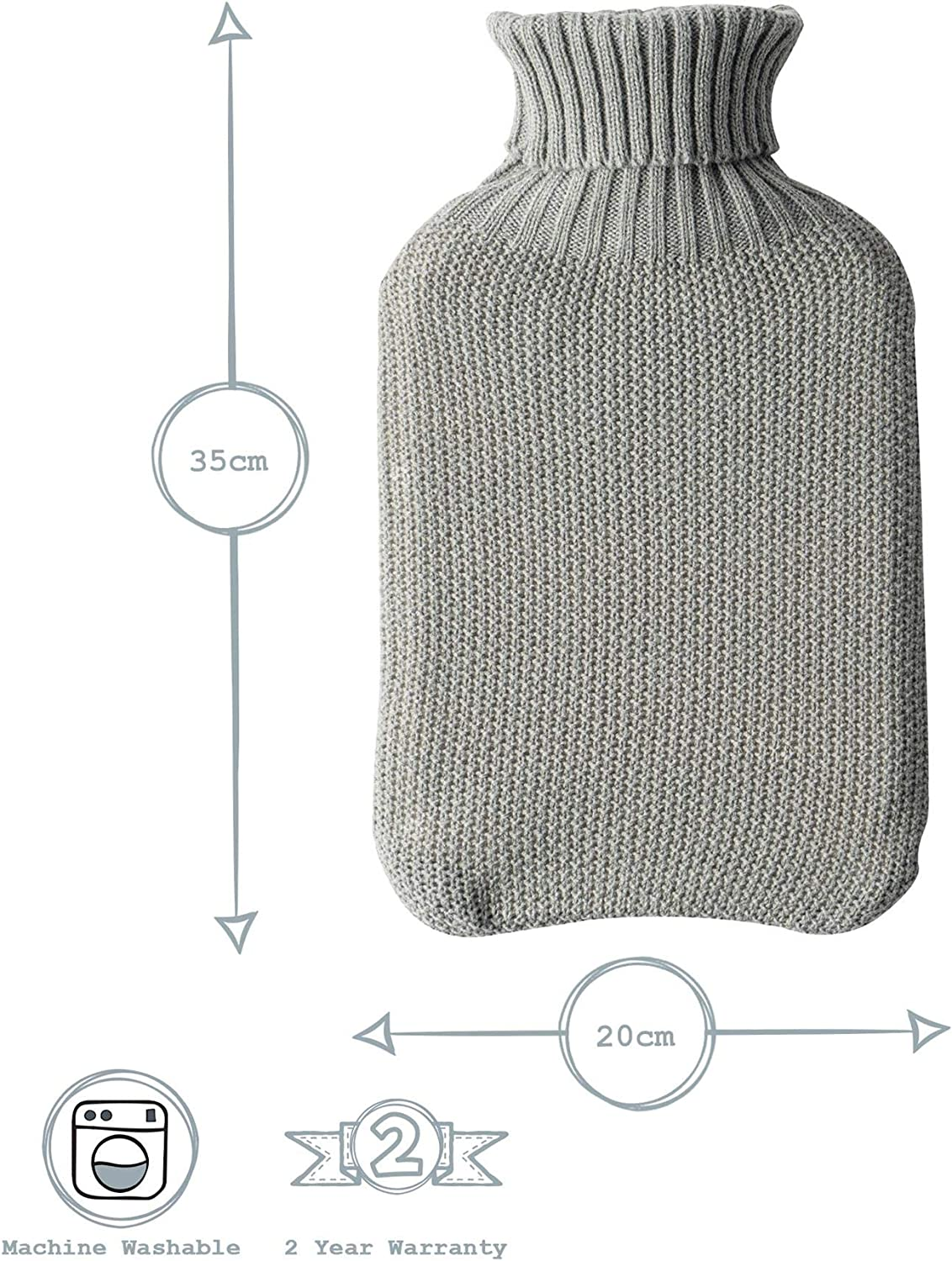Nicola Spring Hot Water Bottle with Knitted Cover Grey Cosy Style Classic Cover