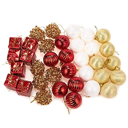 juvale 35 pack christmas tree decorations glittery xmas ornaments in 5 assorted ball - White And Gold Christmas Ornaments