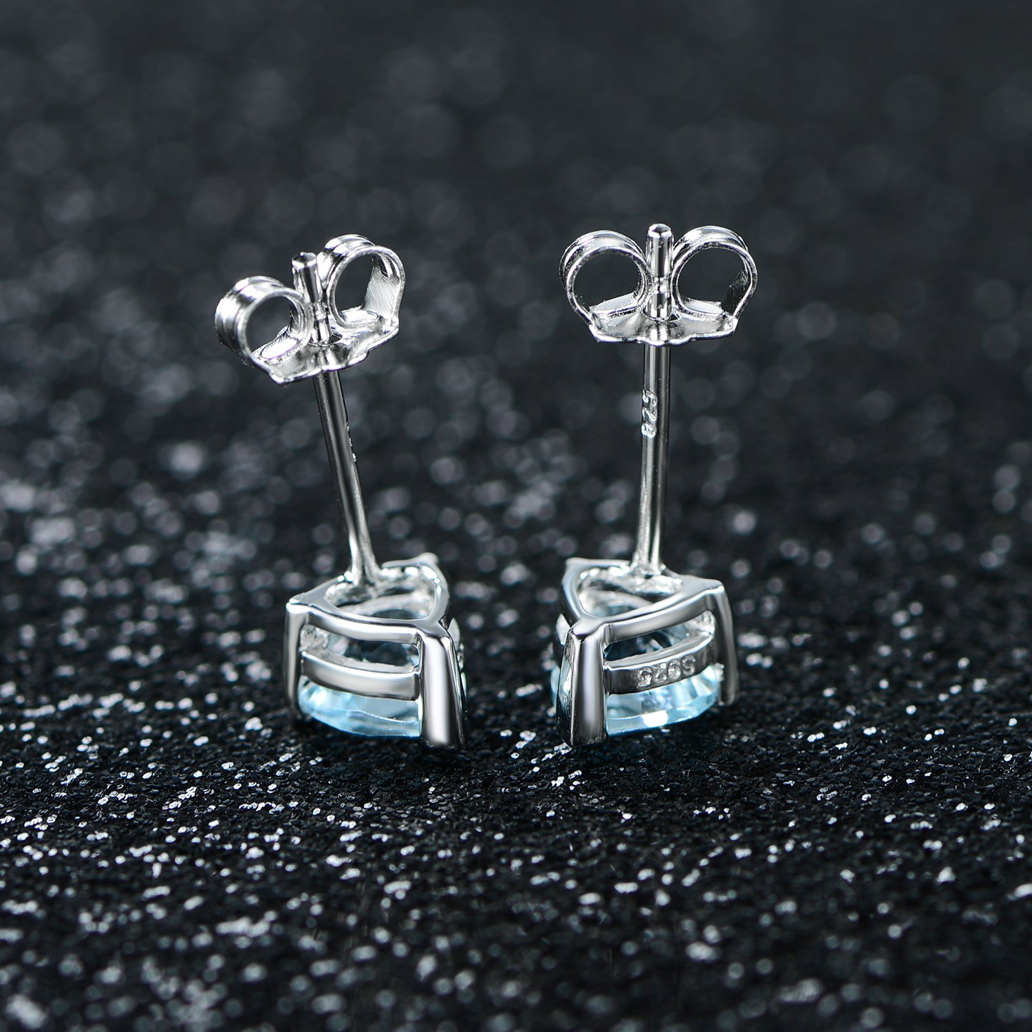 JiangXin Heart Shape Natural Sky Blue Topaz Gemstone White Gold Plated 925 Sterling Silver Stud Earring for Girls Birthday Gift